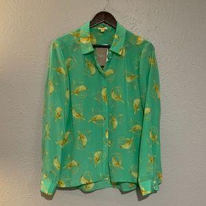 Bird Mint Green Silk Blouse Button Down